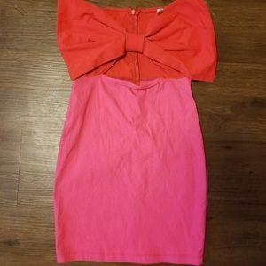 Dresses & Skirts - Scarlet and Pink Bow Tie Bodycon Dress